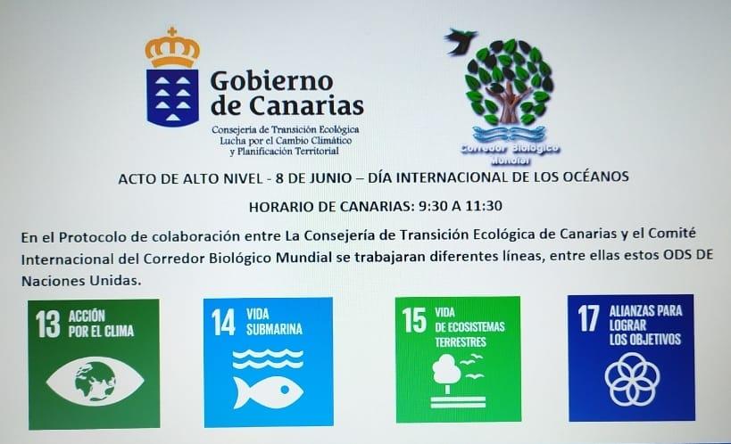 Acto de Alto nivel Consejería de Transición Ecológica de Canarias - Corredor Biológico Mundial - 8 de Junio día de los Océanos